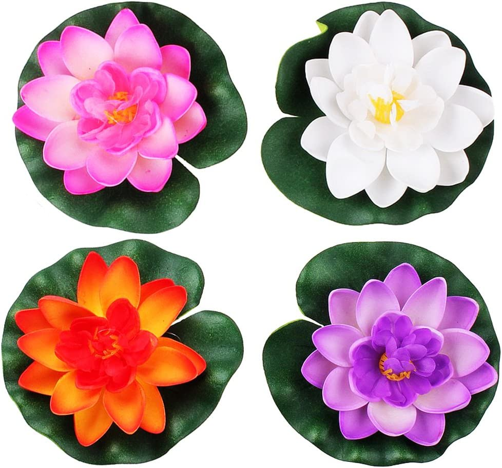 Artificial Plastic Fake Lotus Leaf Flowers Water Lily Pool Floating Decor S9V5