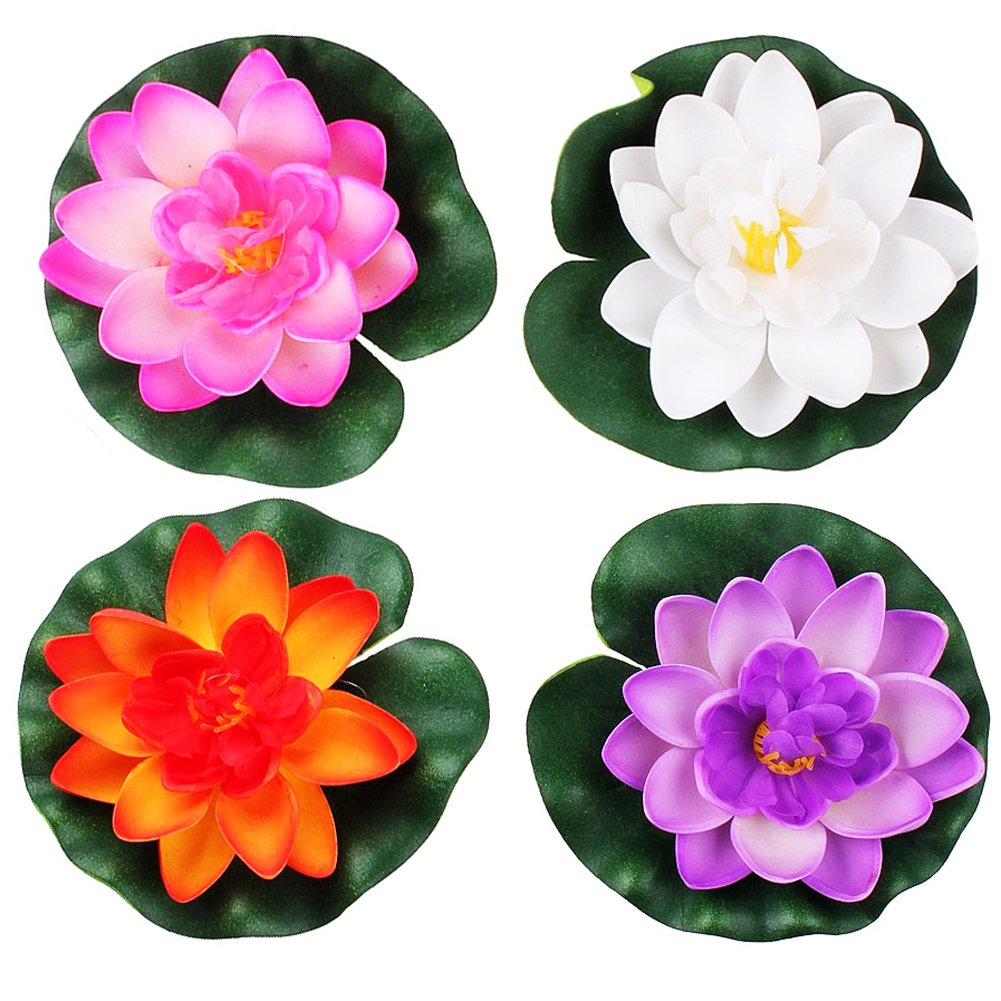 LEFV trade; Floating Flowers Pond Decor Water Lily Lotus Foam Artificial Flower for Garden Pool Home Aquarium Weddings Holidays, Small (Set of 4) by LEFV