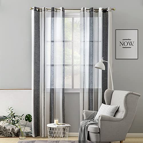 MIULEE 2 Panel Contemporary Decorative Ring Top Eyelet Voile Curtains Sheer  Panels For Bedroom Livingroom Nursery