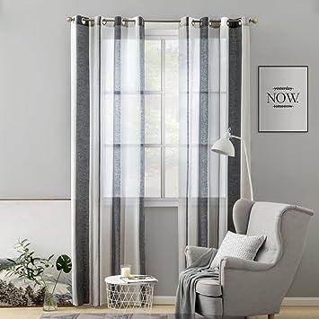 Agreable MIULEE Lot De 2 Décorative Rideaux Voilage Imprimes Fenêtre Design Moderne  Uni à Oeillets Décoration Pour