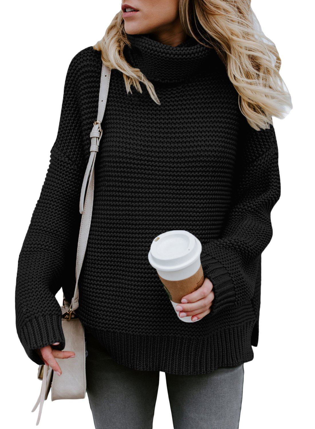 Asvivid Womens Casual Turtleneck Winter Warm Chunky Knit Jumper Pullover Sweater M Black