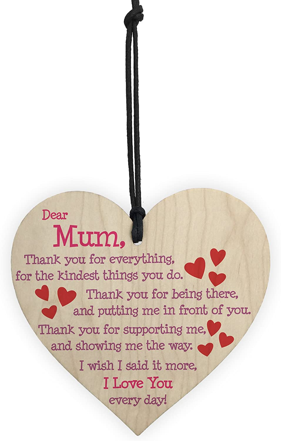 My Mother Woman Like No Other Hanging Wooden Heart Wine Bottle Tag Birthday
