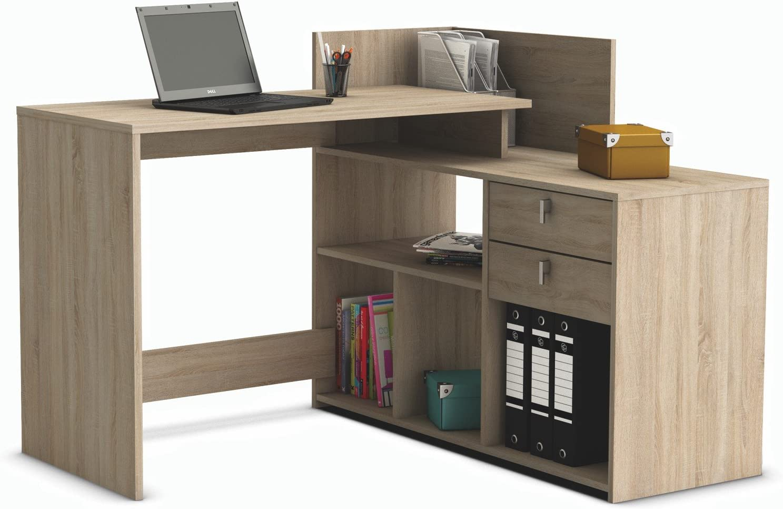 Escritorio mesa de estudio ordenador 121cm. Roble. Para despacho ...