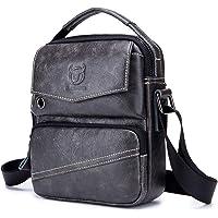 SDINAZ bandoleras hombre Piel auténtica bolsos hombre Vintage Crossbody Bag Casual,Bandolera ajustable ES934 Fekete