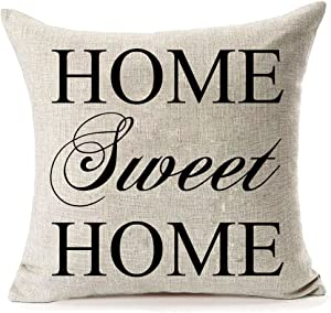 LEIOH Cotton Linen Sofa Pillow Covers Home Decor Design Home Sweet Home Pattern Throw Pillow Case Cushion Covers 18 X 18 Inch