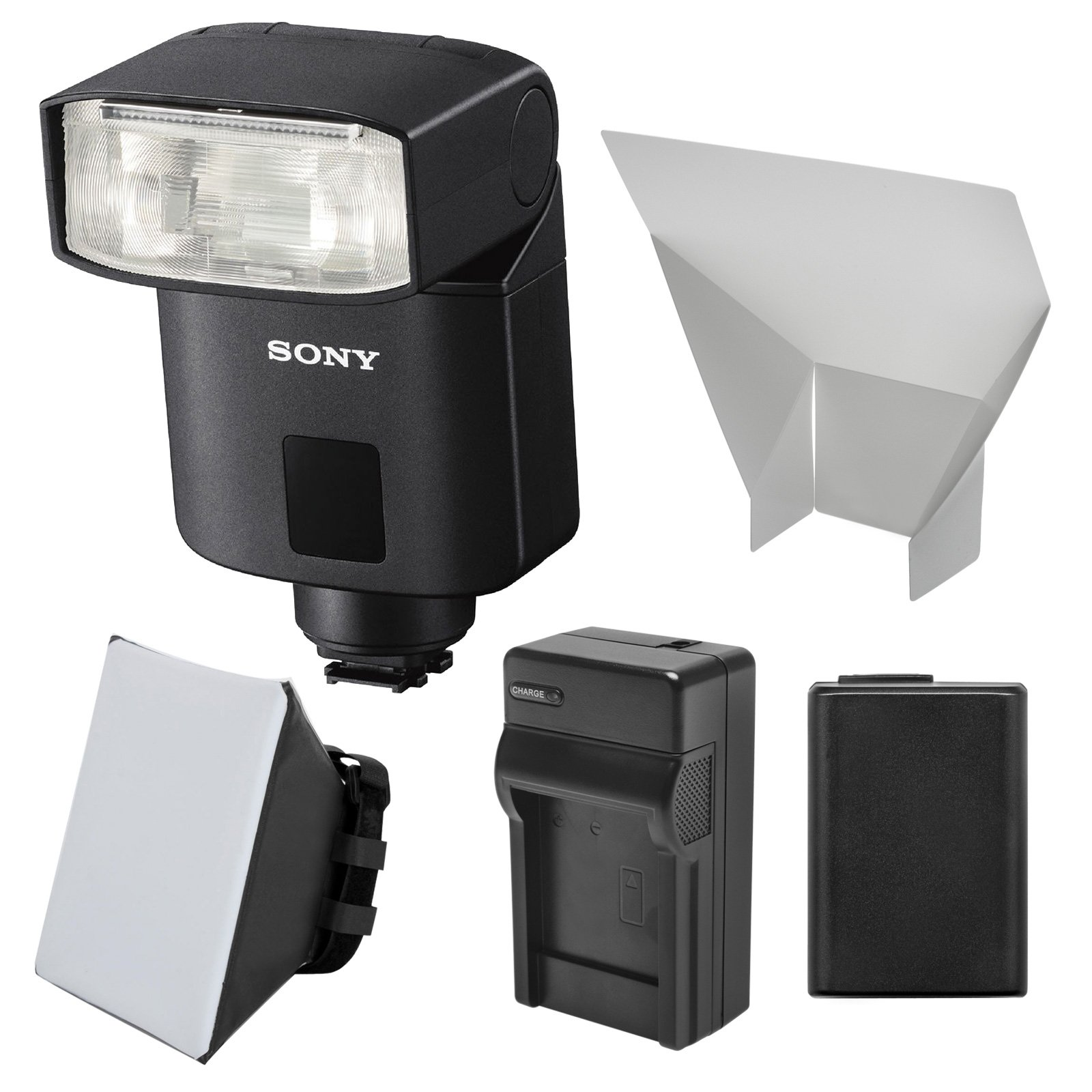 Sony Alpha HVL-F32M Flash with NP-FW50 Battery + Charger + Soft Box + Bounce Diffuser + Kit for Alpha A3000, A6000, A7, A7R, A7S & NEX-6 Cameras by Sony