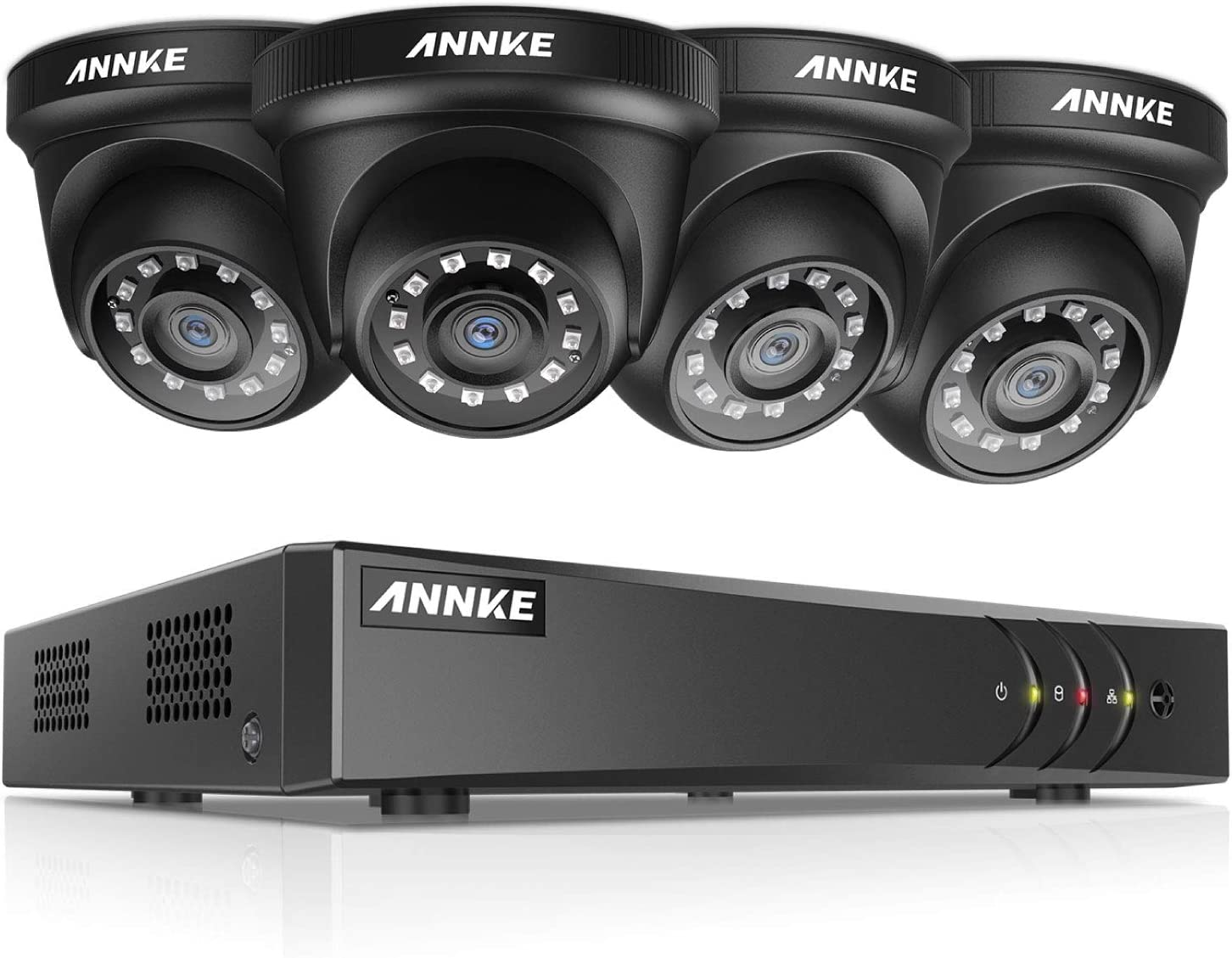 ANNKE Security Cameras System Smart HD 1080P Lite 4 Channels DVR Recorder and 4 1080P HD Outdoor Dome Camera, All-Weather Adaptation, Email Alert with Images, Mobile App ANNKE Vision, NO HDD