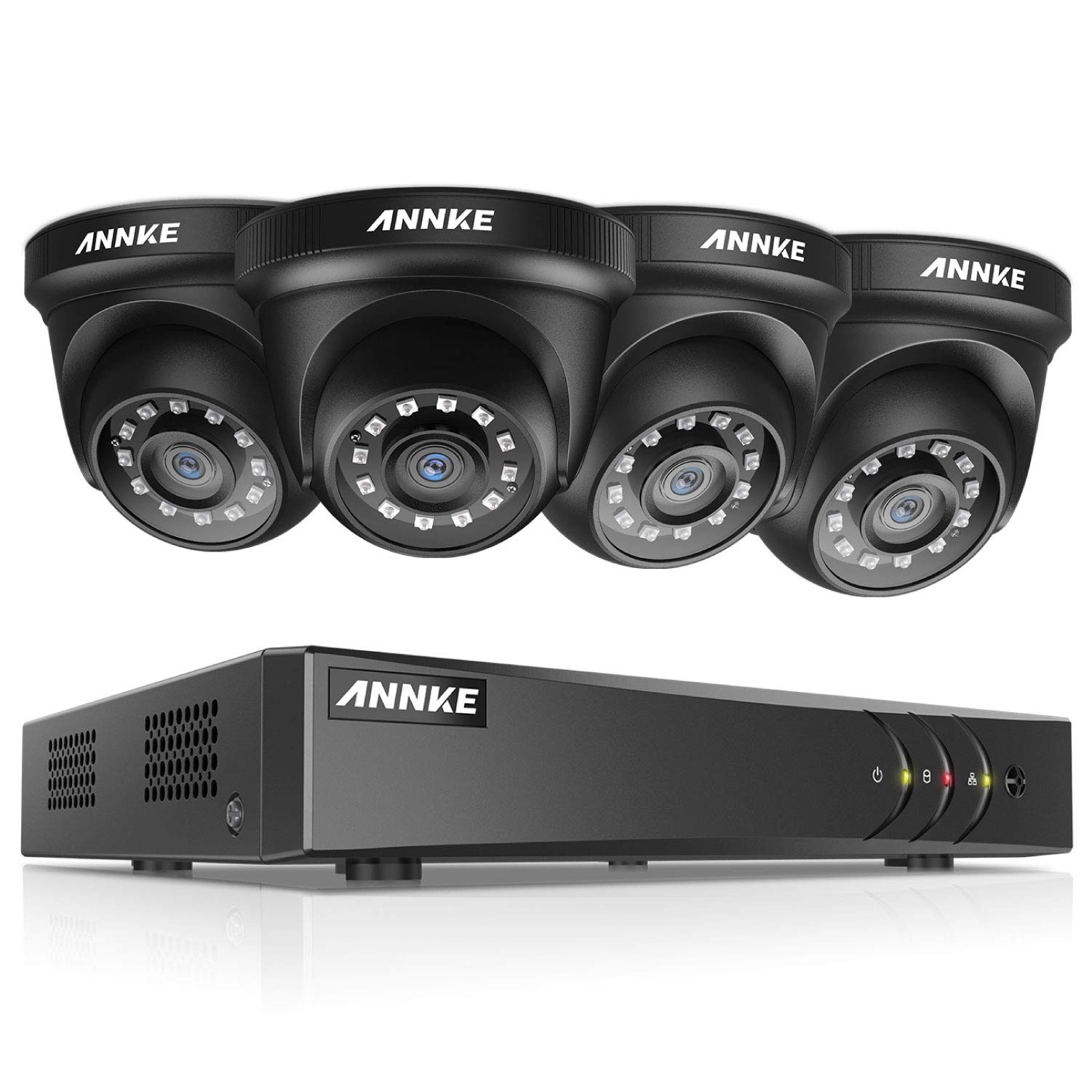 ANNKE 8CH Surveillance Security Camera System 1080P Lite H.264+DVR Recorder and (4) Outdoor 1080P 2MP CCTV Dome Cameras with Ultra Clear Night Vision, Email Alert with Snapshots, NO Hard Drive by ANNKE