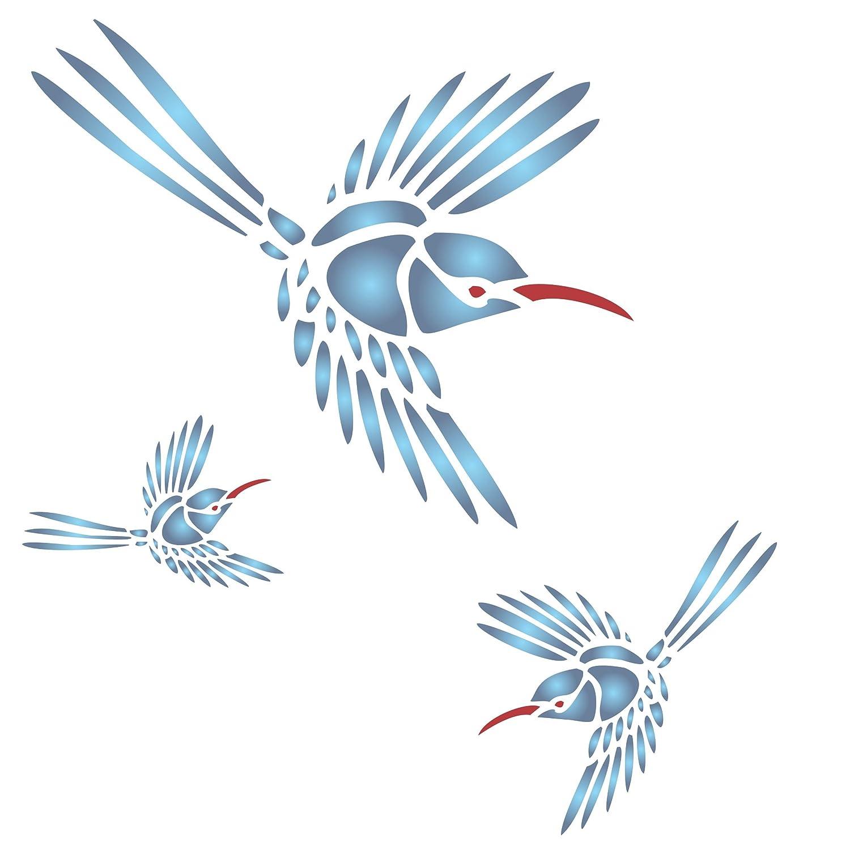 S /Utilisation sur papier projets Journal de scrapbooking murs sols Tissu meubles en verre Bois etc /r/éutilisable Grand Jardin Bird Spring mural Pochoir/ Colibri Pochoir/