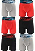 JRAMBO Men's Underwear Soft Cotton Boxer Briefs with Elastic Waistband (6-Pack)