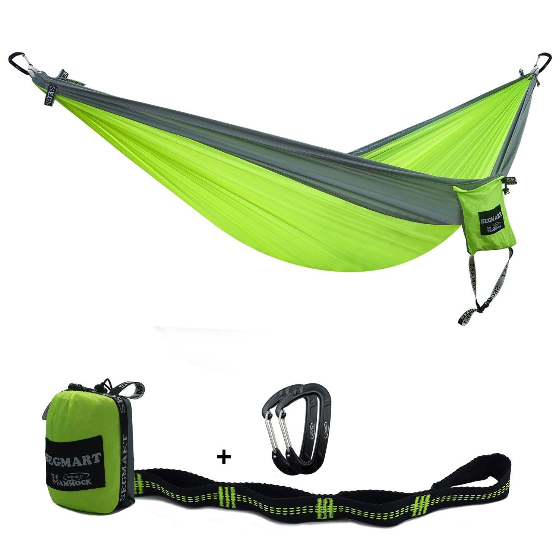 segmartキャンプhammock- Easy Hangingダブルハンモックのツリーストラップ&カラビナ、600lbs B06XDGYX77 Lime/Silver Lime/Silver
