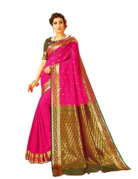 0c490f800011f5 Craftsvilla Women s Silk Paisley Zari Border Pink Saree with Blouse Piece   Amazon.in  Clothing   Accessories
