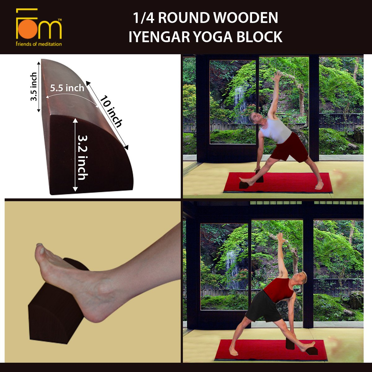 Amazon.com : Friends of Meditation 1/4 Round Wooden Iyengar ...