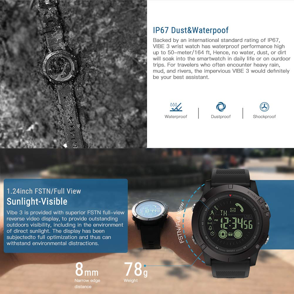 Zeblaze Vibe 3 Smartwatch Hillrong Pulsera Inteligente Bluetooth para iOS y Android, Podómetro para Deportes y Aire Libre (Negro)