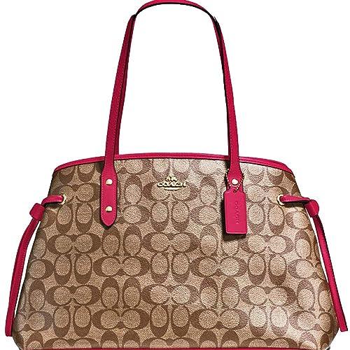 45531ecbea New Authentic COACH Elegant Monogram Large Shoulder Tote Bag in  Khaki/BEAUTIFUL Reddish Pink Leather Trim!: Shoes