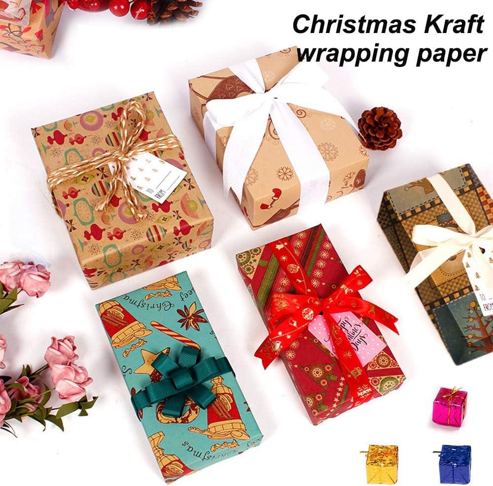 Nature Kraft Geschenkpapier 10 Bl/ätter Weihnachst Geschenkpapier Geschenkverpackung f/ür Weihnachten Geburtstag Papier Geschenke 70 X 50 cm