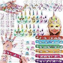 74 Piezas Artículos de Fiesta Unicornio Cumpleaños Niños, Llavero Unicornio, Pulseras Bofetada, Pulsera Unicornio, Tatuajes Temporales, Máscara Papel, ...