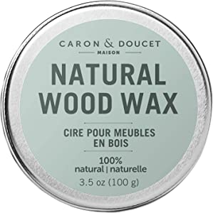 Caron & Doucet - Natural Wood Conditioning Vegan Wax Finish - 100% Plant Based Wood Conditioning and Polishing Wax Finish - Orange Scented - Suitable for Natural Wood Furniture. (3.5oz)