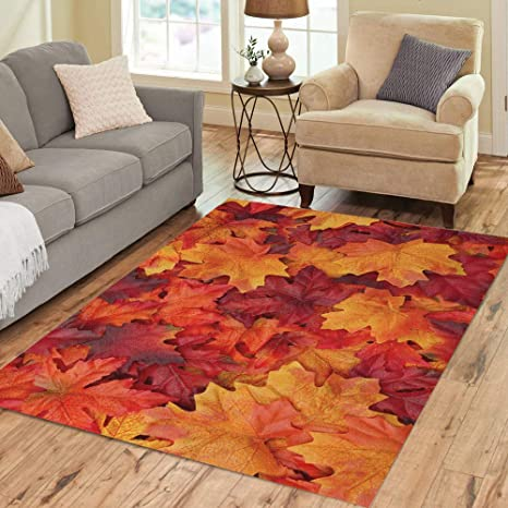 Pinbeam Area Rug Colorful Leaf Red And Orange Autumn Leaves Thanksgiving Home Decor Floor Rug 3 X 5 Carpet Kitchen Dining