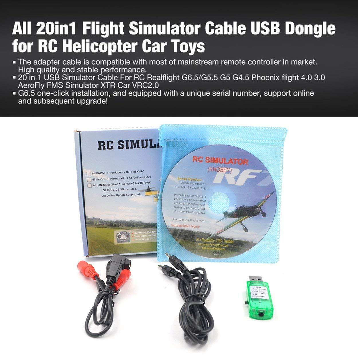 Lorenlli RC Simulador Cable Inal/ámbrico 20In1 Simulador de Vuelo Cable USB Dongle para RC Helic/óptero Juguetes de Coche de Avi/ón