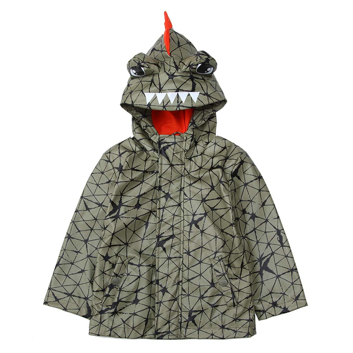 Rokka/&Rolla Boys Lightweight Waterproof Hooded Rubberized Lined Rain Jacket Raincoat Windbreaker