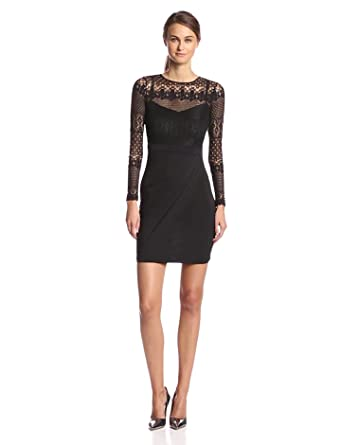 French Connection Women's Lace Drape Long Sleeve Dress, Black, 0 ...