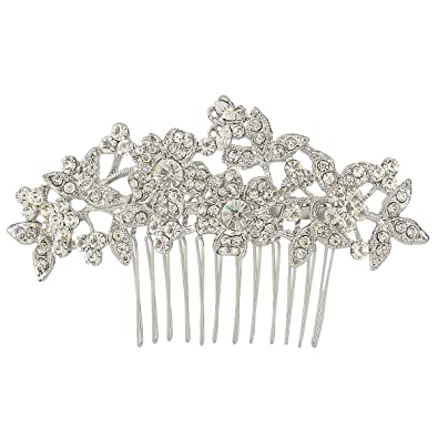 TENYE Women´s Austrian Crystal Wedding Floral Leaf Branch Hair Comb Clear Silver-Tone HAuTn69