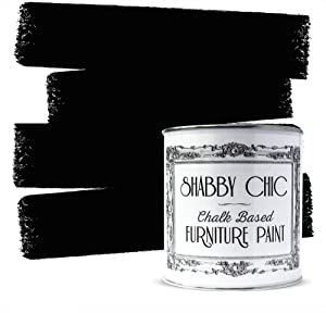 Shabby Chic Furniture Chalk Paint: Chalk Based Furniture and Craft Paint for Home Decor, DIY Projects, Wood Furniture - Chalked Interior Paints with Rustic Matte Finish - 250ml - Black Liquorice
