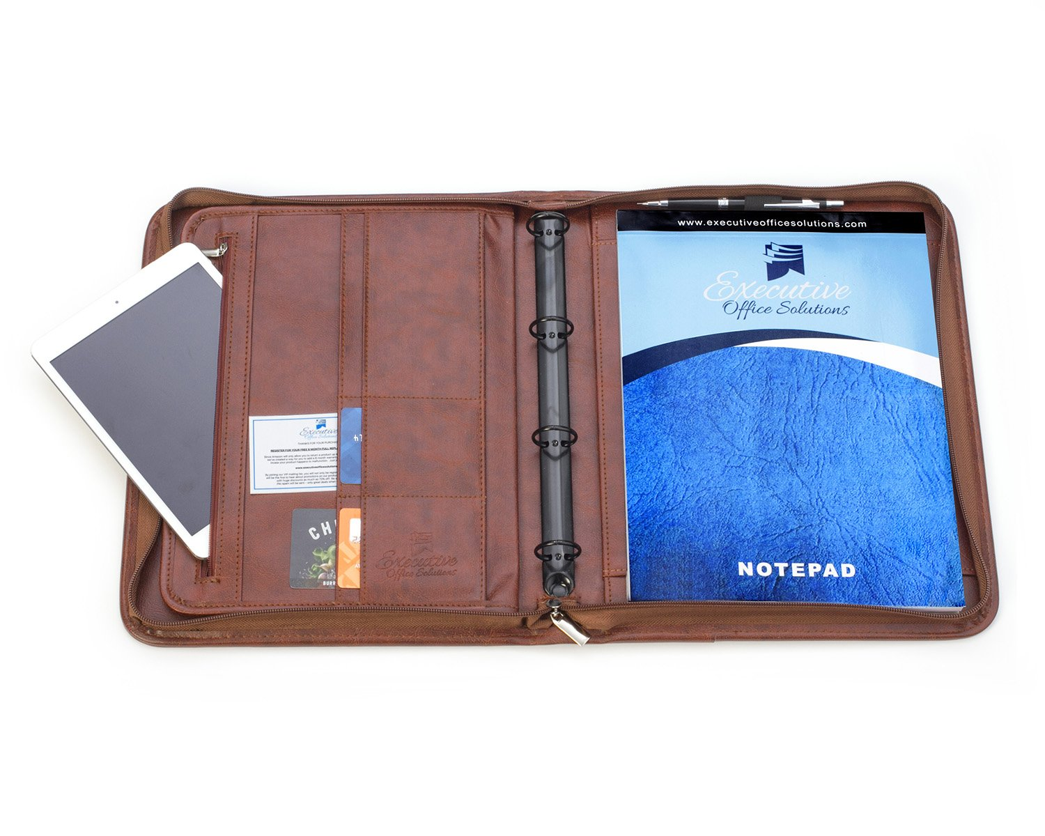 Professional Business Padfolio Portfolio Briefcase Style Organizer Folder Notepad and 4 Ring Binder - Brown Synthetic Leather