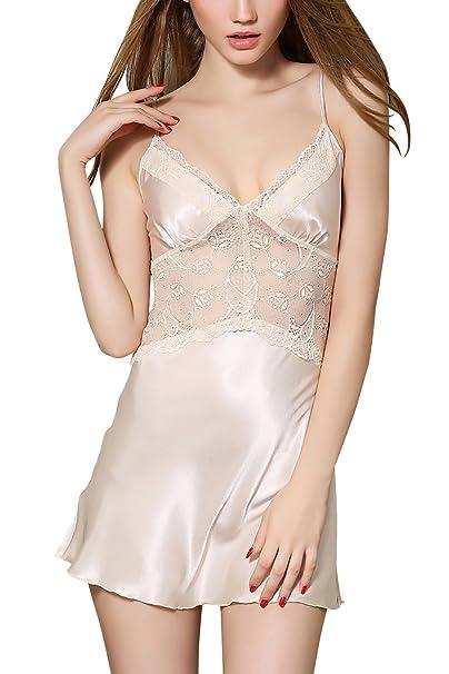 Dolamen Camisón para mujer, Mujer Cordón Bordado De Flores Camisones raso Satin Pijamas, lencería
