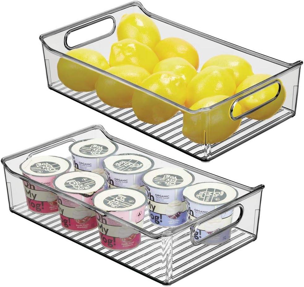 "mDesign Wide Plastic Kitchen Pantry Cabinet, Refrigerator or Freezer Food Storage Bin with Handles - Organizer for Fruit, Yogurt, Snacks, Pasta - BPA Free, 14"" Long, 2 Pack - Smoke Gray"