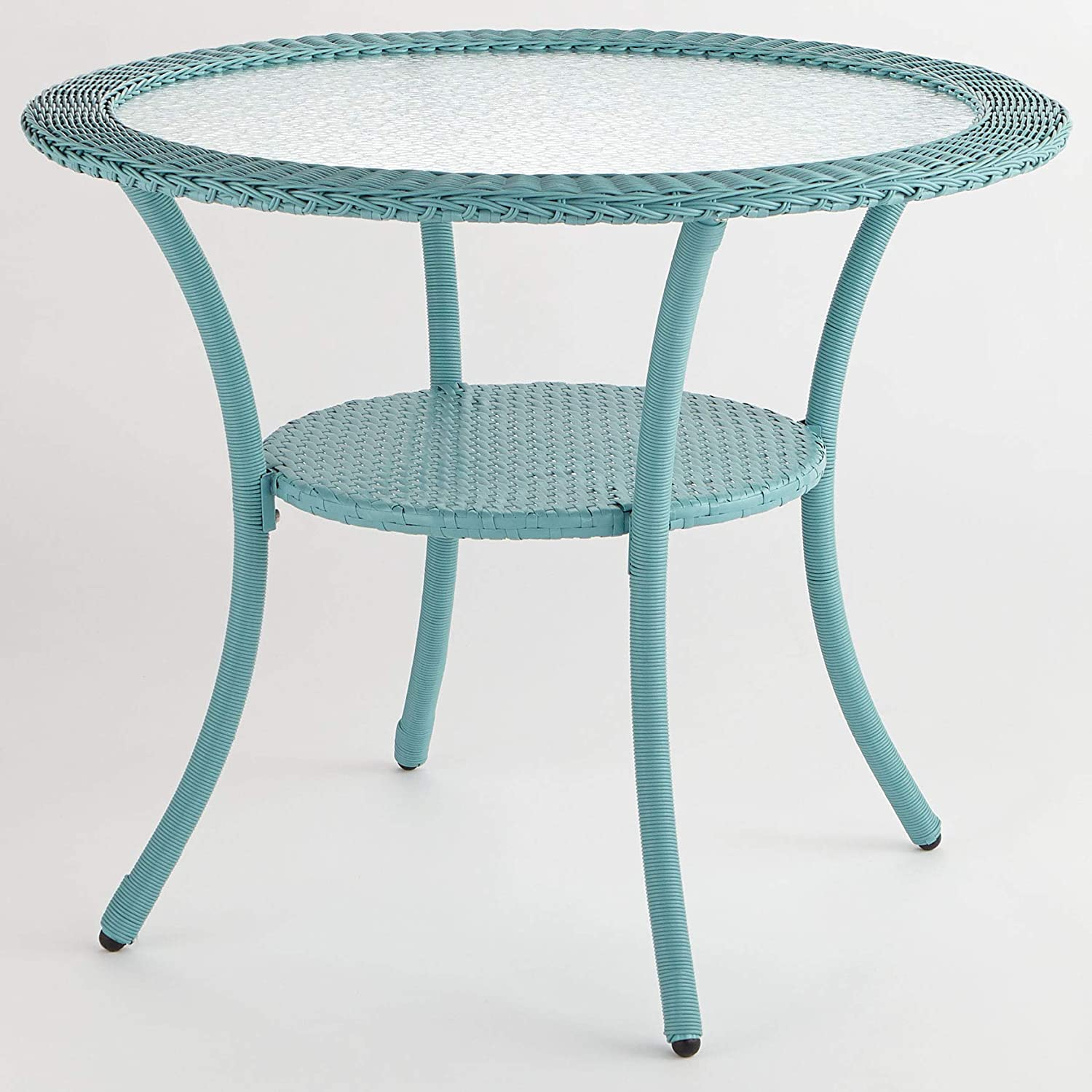 BrylaneHome Roma All-Weather Resin Wicker Bistro Table – Haze