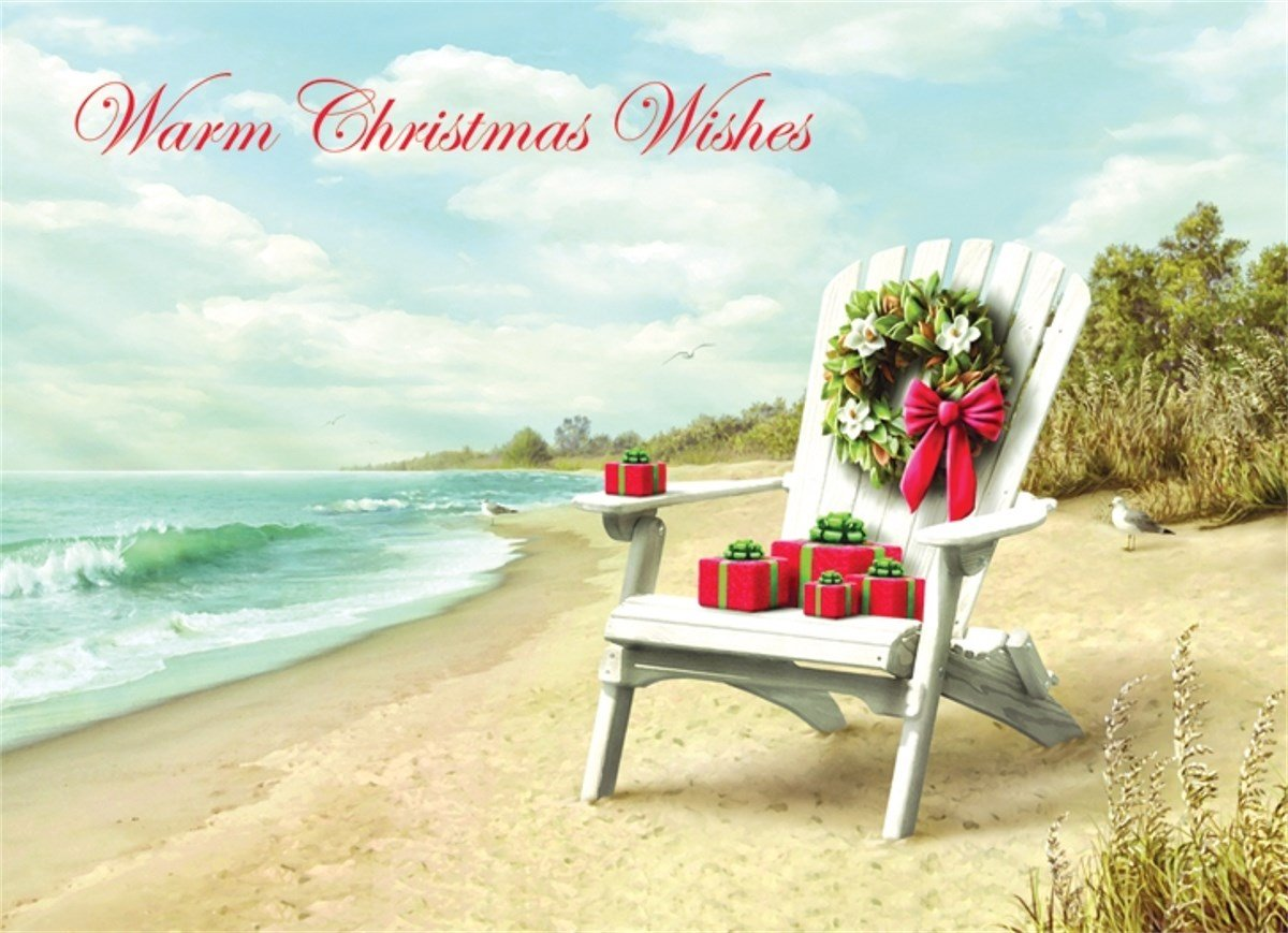 18 Christmas Cards and Envelopes, Airondak Chair on Beach with Magnolia Wreath and Gifts