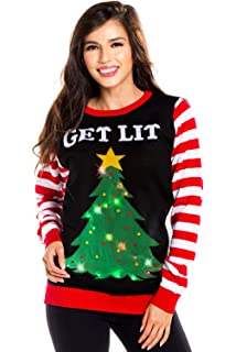 62a7acdf00e61 Tipsy Elves Women's Light Up Christmas Sweater - Black Lit Funny Ugly  Christmas Sweater Female