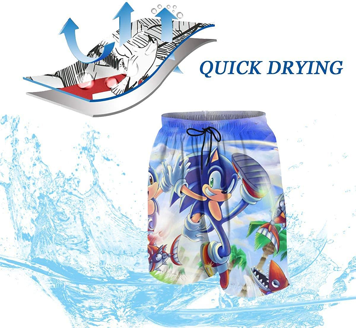 Muindancer Hedgehog Anime Youth Boys 3D Print Shorts Summer Beach Shorts Casual Pants Quick Dry Swim Trunk