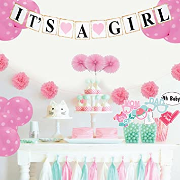 Amazon Simple Pink Polka Dot Baby Shower Decorations For Girls