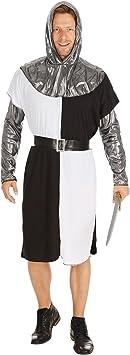 TecTake dressforfun Disfraz de Caballero Medieval para Hombre   Camisa de Manga Larga con Mangas y Capa con Capucha en Óptica de Metal y un Cinturón ...