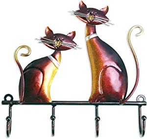 Tooarts Wall Mounted Key Holder Iron Cat Wall Hanger Hook Decor 4 Hooks for Coats Bags Wall Mount Clothes Holder Decorative Gift
