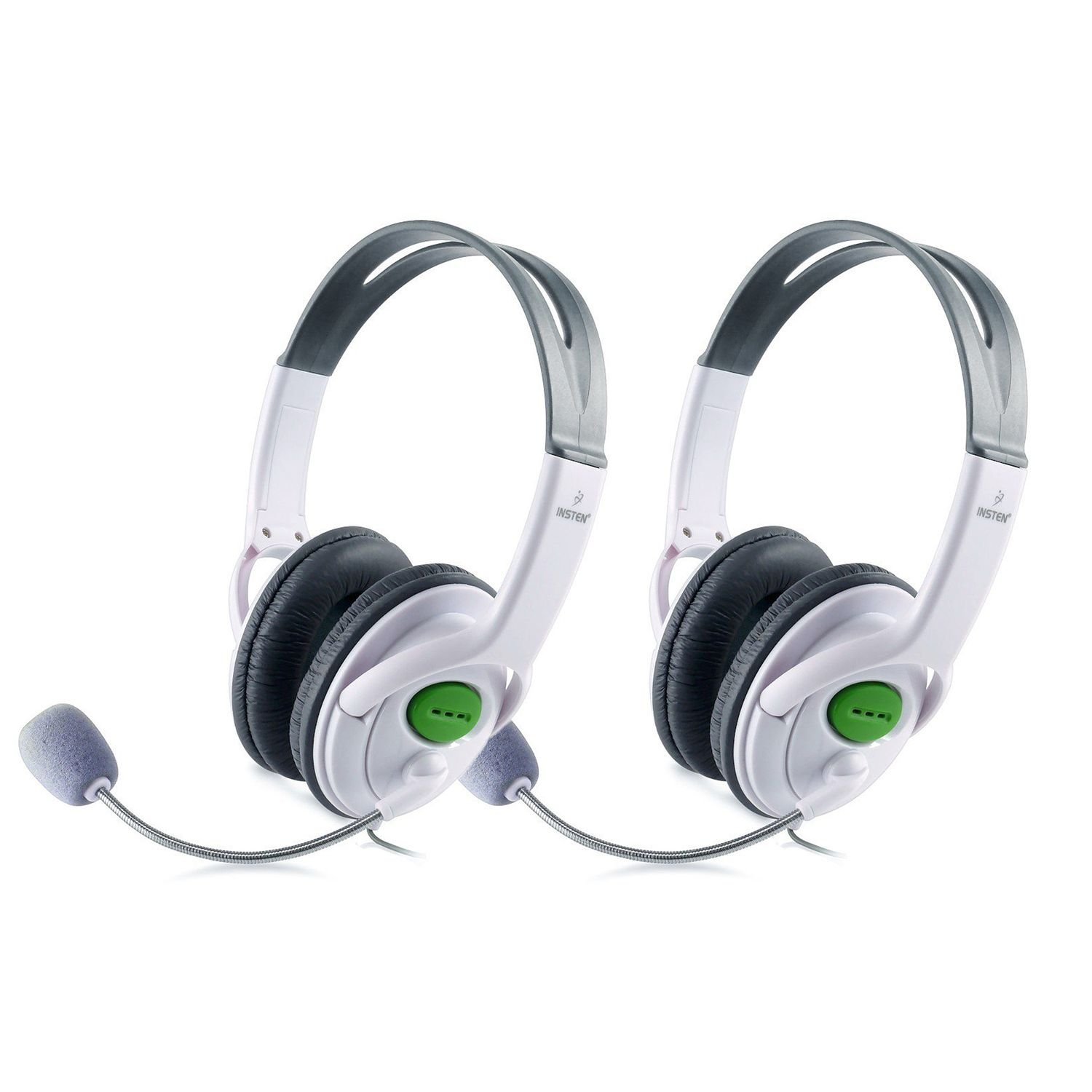 Insten [2 Pack] Gaming Headset Chat Headphone with Mic Microphone for Xbox 360 Live Wireless Controller, White by INSTEN