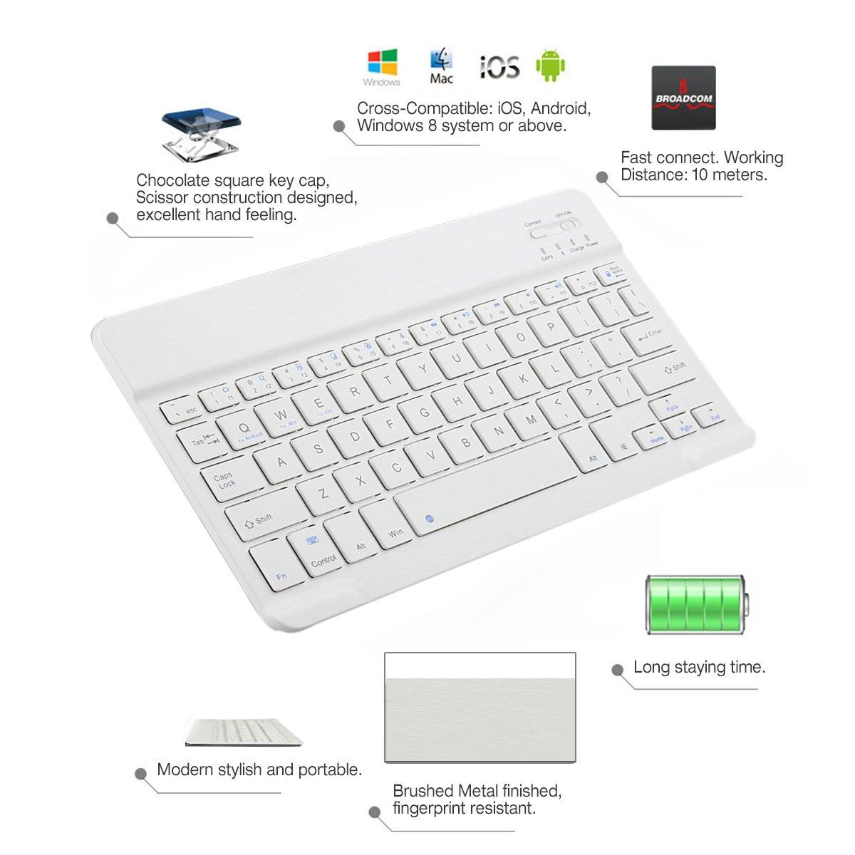 CoastaCloud Portable 10-inch Ultra Slim ABS Wireless Bluetooth Keyboard for iPad 10.5, iPad 9.7'', iPad Pro, iPad Air, iPad 2/3/4, Galaxy Tab Note and Any iOS, Android, Windows Tablets (White) by CoastaCloud (Image #7)