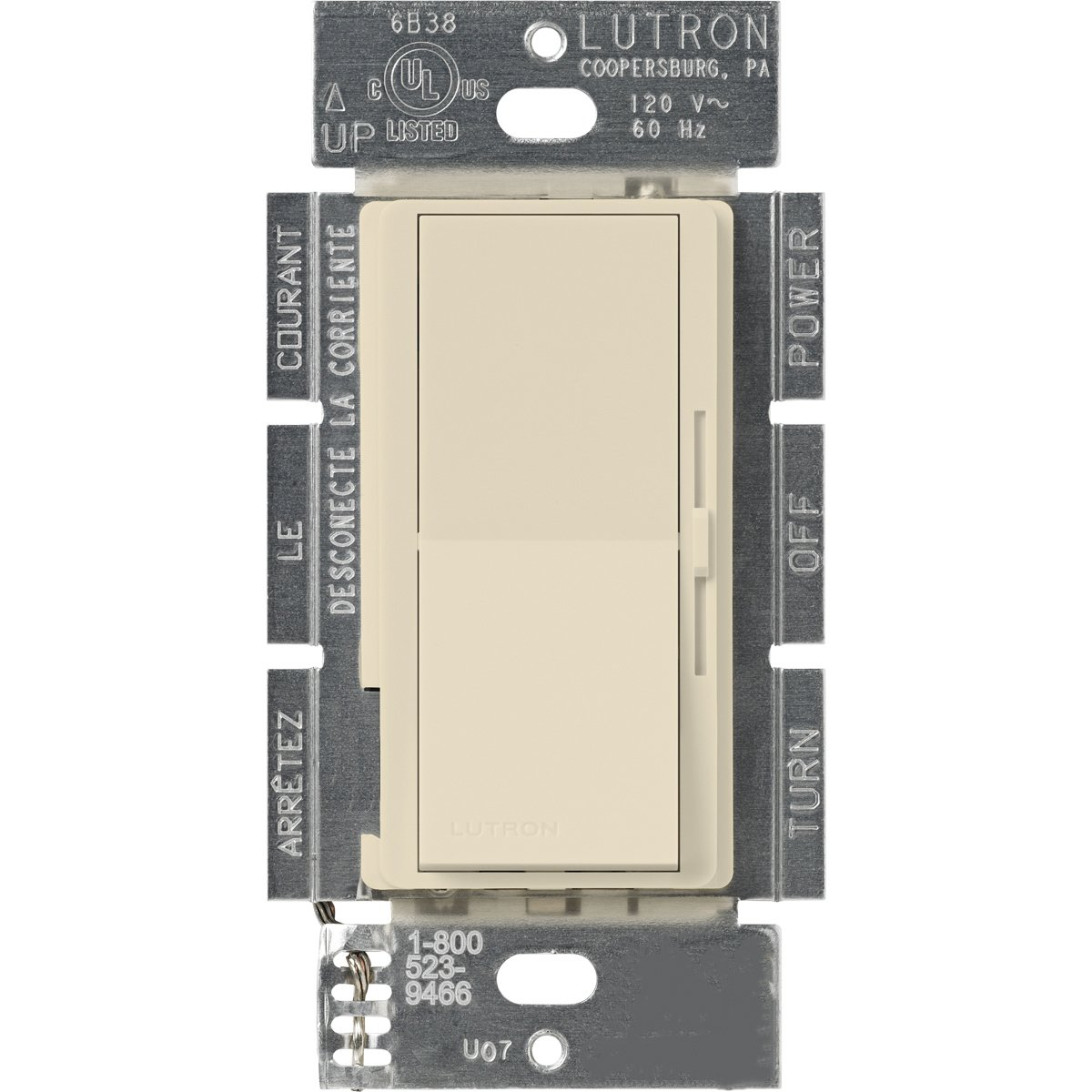 Lutron DVSC-10P-ES Diva 1000-watt Single Pole Dimmer, Eggshell