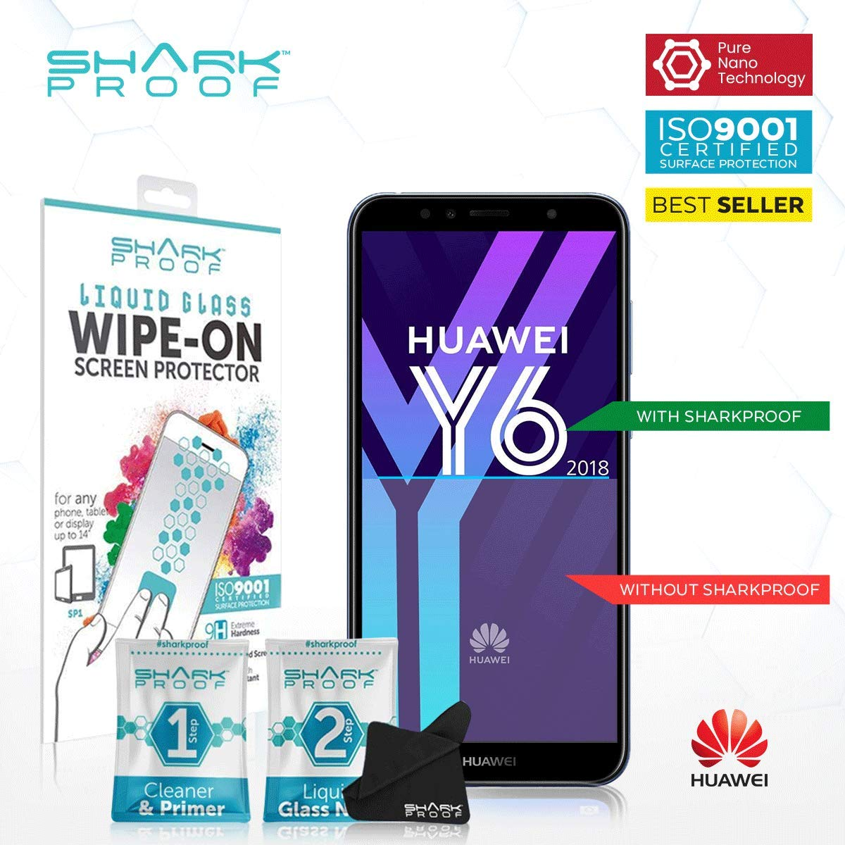 Amazon com: For Huawei Y6 Pro 2019 Liquid Glass Screen Protector