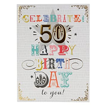 Hallmark 50th Birthday Card Heres To You Large Amazon