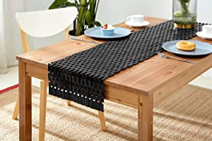 LUX LOVE LIFE LUXURY Natural Home Decor Bamboo Table Runner   Kitchen Mat   Table Wedding Decorations Black Color   59