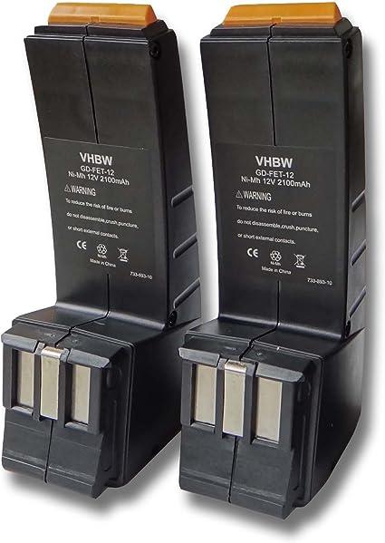 vhbw 2x Ni-MH batería 3300mAh (12V) para herramientas Festo Festool 490592, 490889, 491150, C12CE-NC-C45-Plus, C12DUO, C12GG, CCD12, CCD12ES