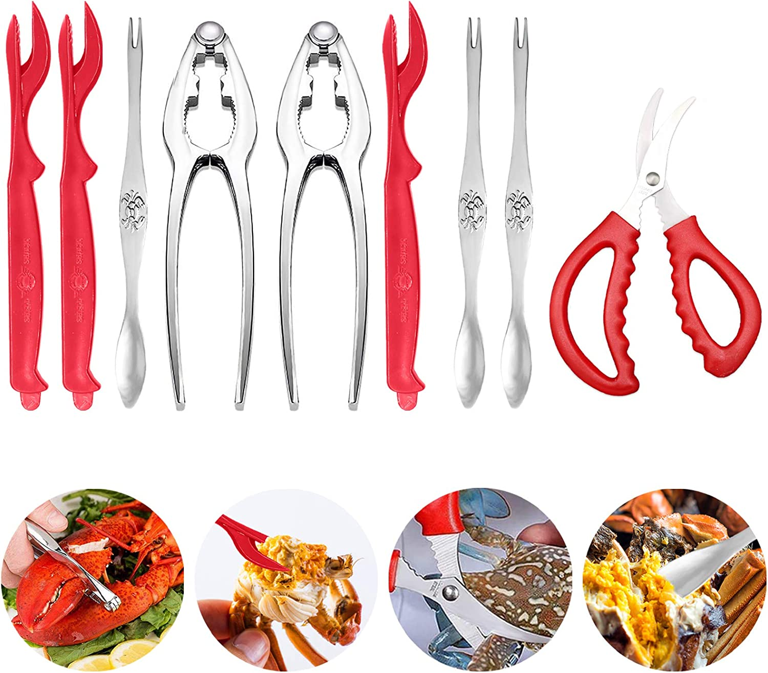 Seafood Crab Crackers and Tools- Lobster Nut Crackers and Picks Including 2 Lobster Crab Crackers 3 Lobster Shellers 3 Crab Leg Forks/Picks and 1 Seafood Scissors