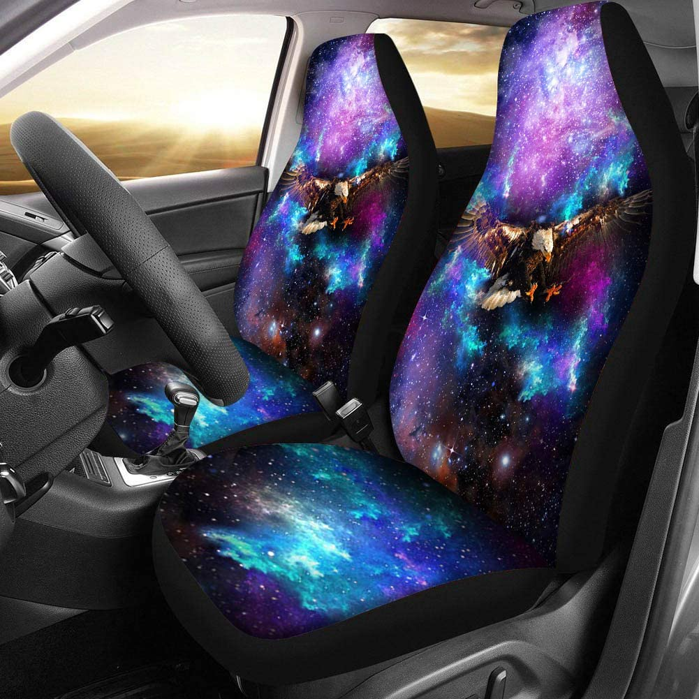 Truck or SUVs Dreaweet Galaxy Eagle Printed Blanket Car Seat Covers for Front Seat Protector Cover 2pc Set Tie Dye Design Universal Fit for Car