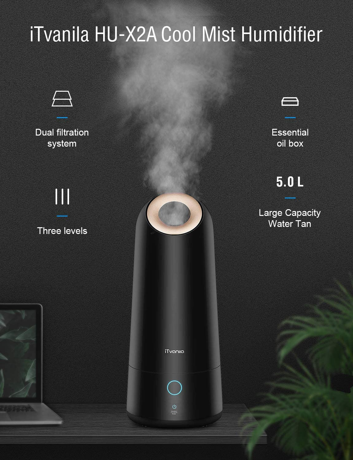 iTvanila Humidifiers, 5L Powerful Cool Mist Humidifier for Large Bedroom, Living and Baby Room, Intelligent Mist Control, Smart Sleep Mode and Auto Off Protection