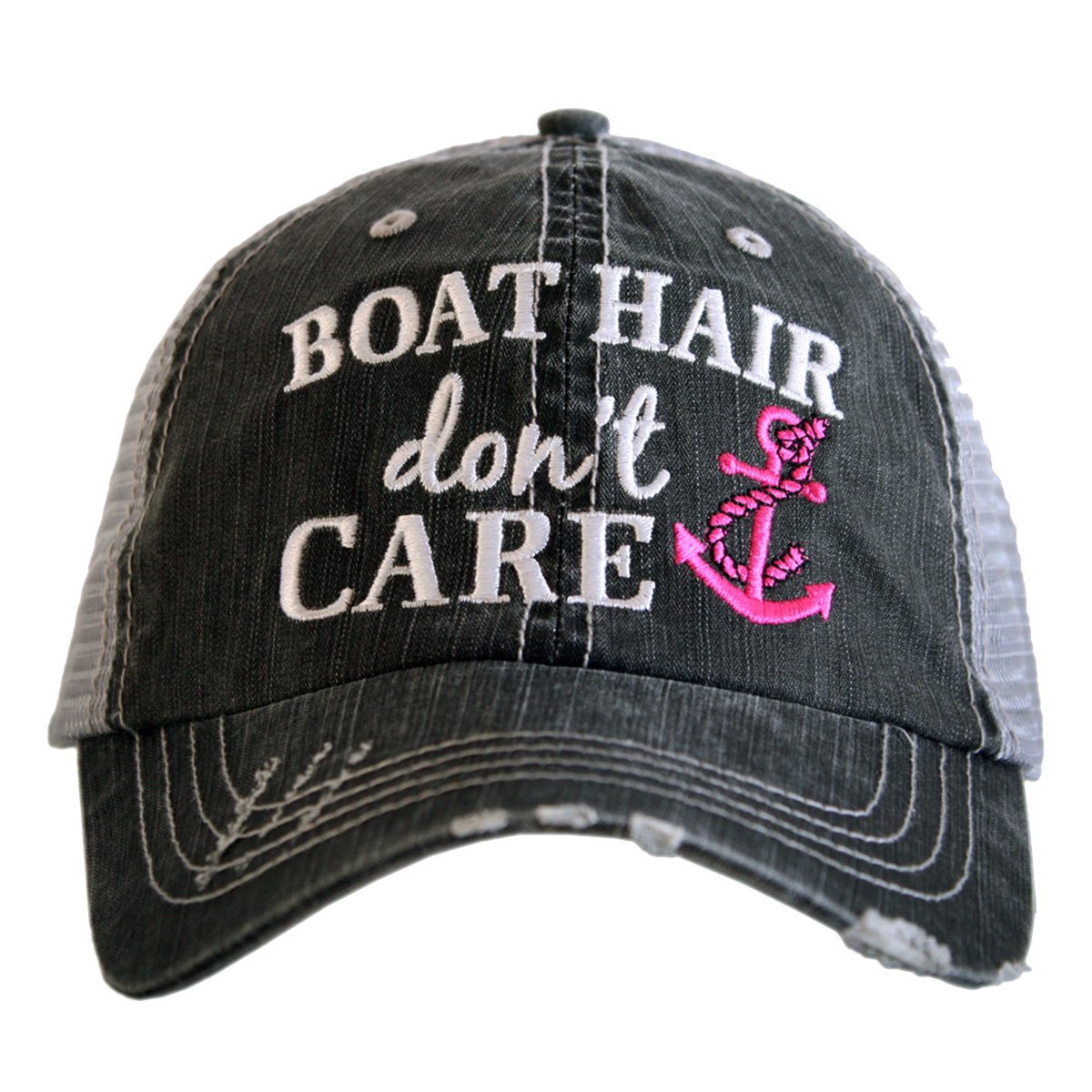 Boat Hair Don't Care Women's Distressed Grey Trucker Hat (Pink Anchor) by Katydid (Image #1)