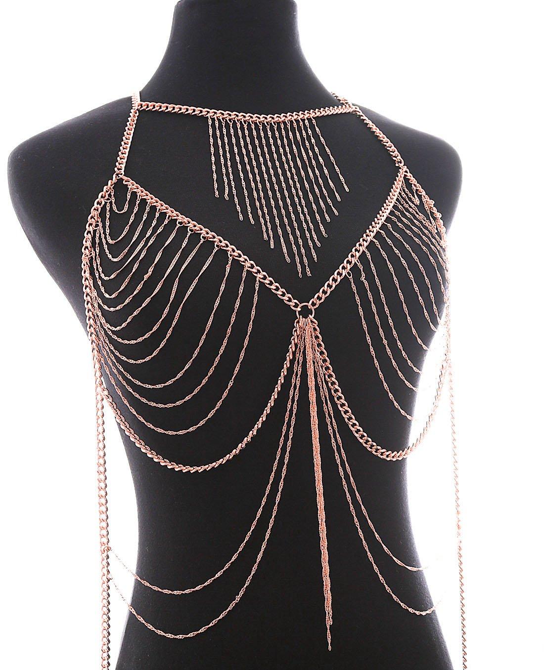 Fine Fashion Boderier Retro Bikini Bralette Chain Harness Necklace Crossover Body Chain For Women (Rose Gold)